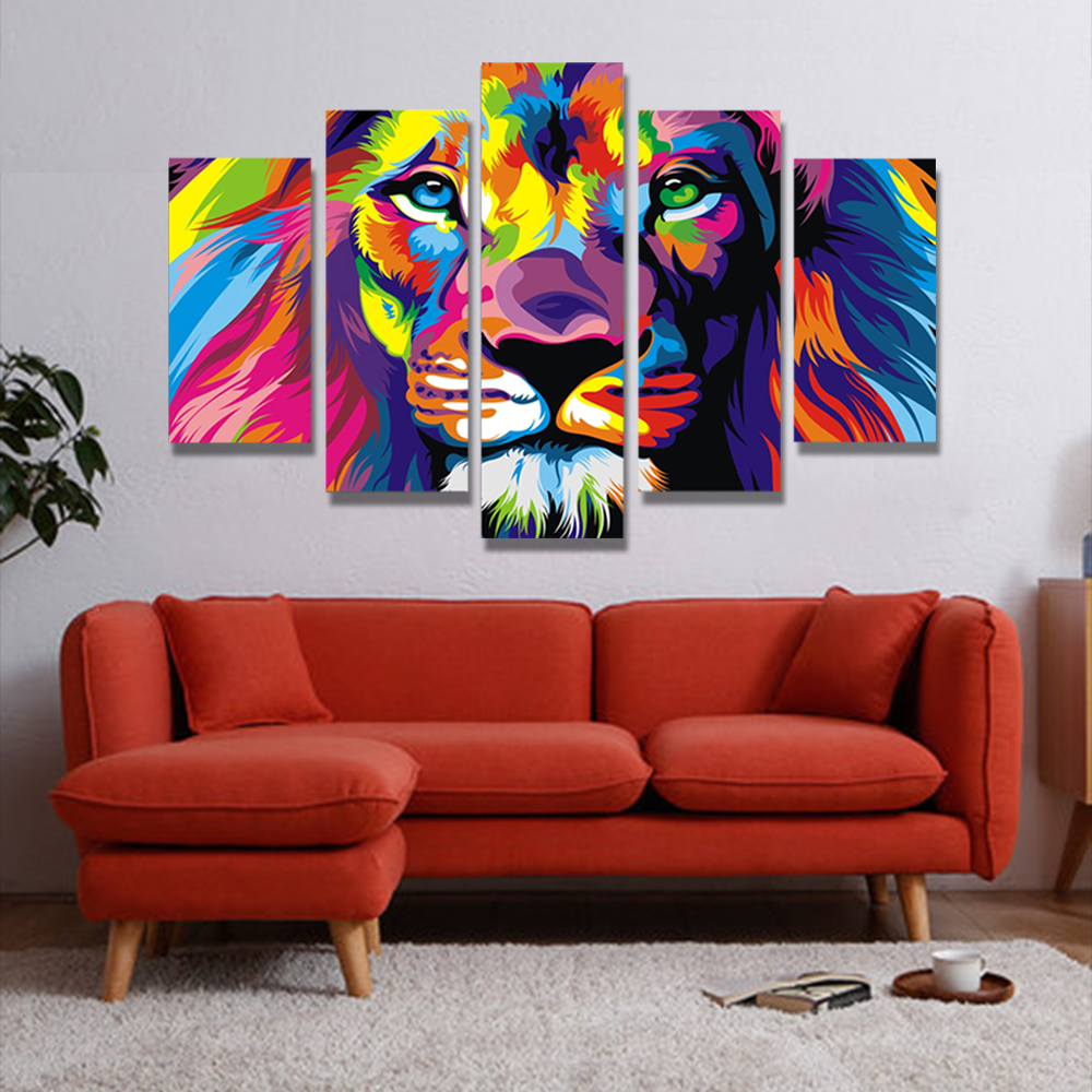 Unframed Canvas Animals Art Oil Painting Picture Giclee Wall Decor Colored Lion For Living Room Decoration Free Shipping