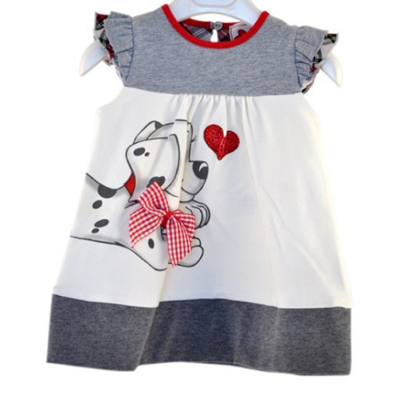 New  Girls summer Dresses Cute dog heart patterns Children Clothing Kids Dress sleeveless summer wear heart of a dog