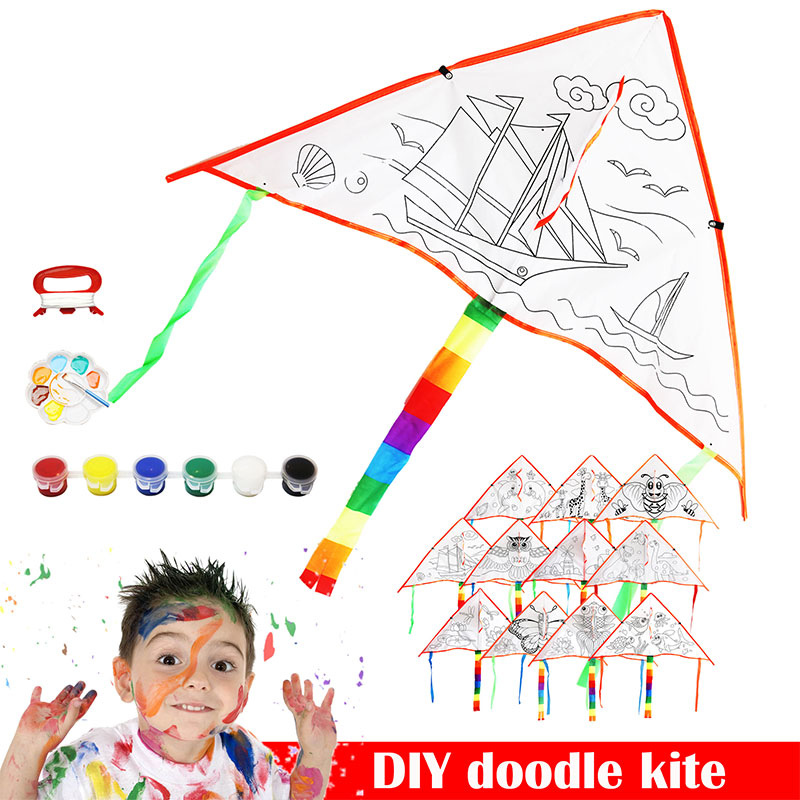Polyester Fabric Kite Diy 1 Set Flying Kite Sports Toys Empty Spaces Diy Toy Gifts Outdoor Sports Toy Graffiti Kite Accessories