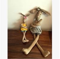 Shippping livre Encantador bowknot longas pernas arte boneca de brinquedo boneca de Pano coelho presentes de decoração Para Casa presentes