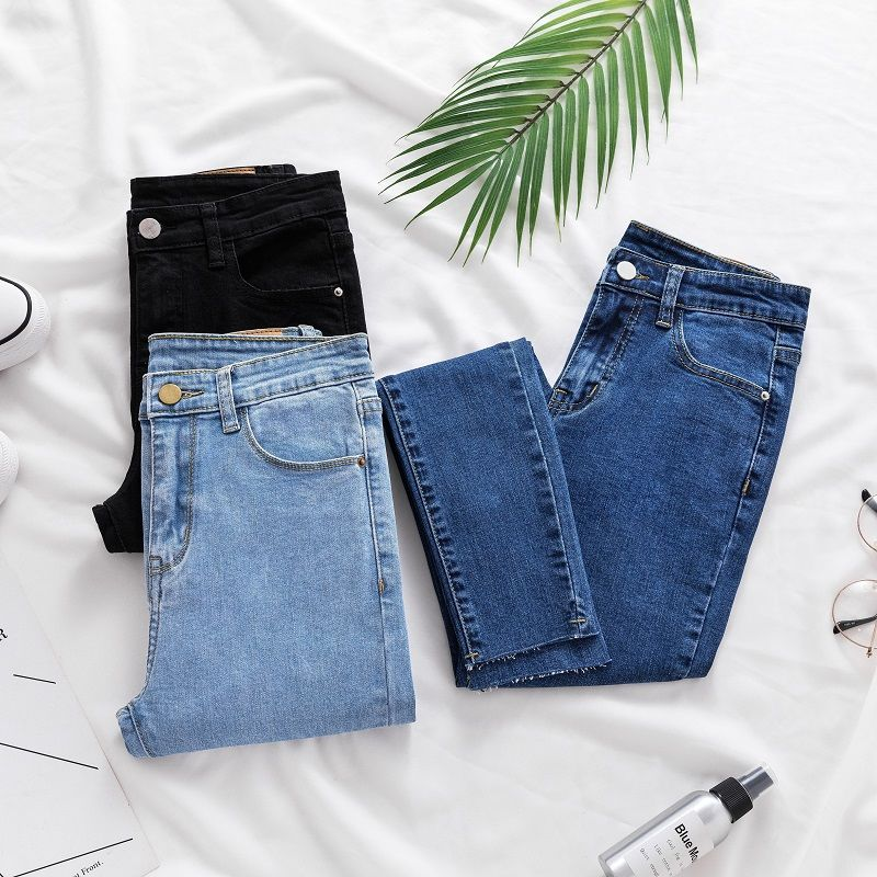2019  Jeans Women Pencil Pants Jeans High Waist High Slim Elastic Stretch female Black Lady washed denim skinny Trousers KZ003