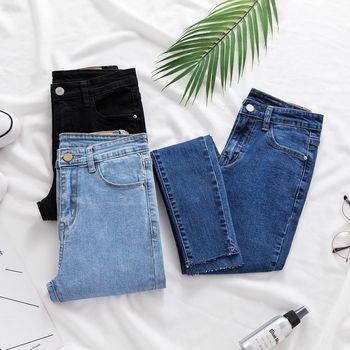 dc288117a 2019 Jeans falda de las mujeres pantalones vaqueros Jeans cintura alta Alta  Slim elástico Mujer dama negro denim lavado pantalones KZ003