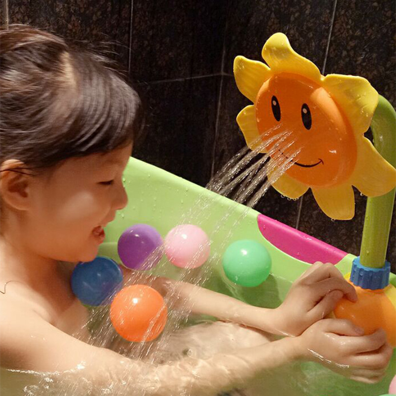 New Baby Funny Water Game Bath Toy Sunflower Shower Faucet Baby Bath Spout Play Swimming Bathroom Toys Summer Bathing