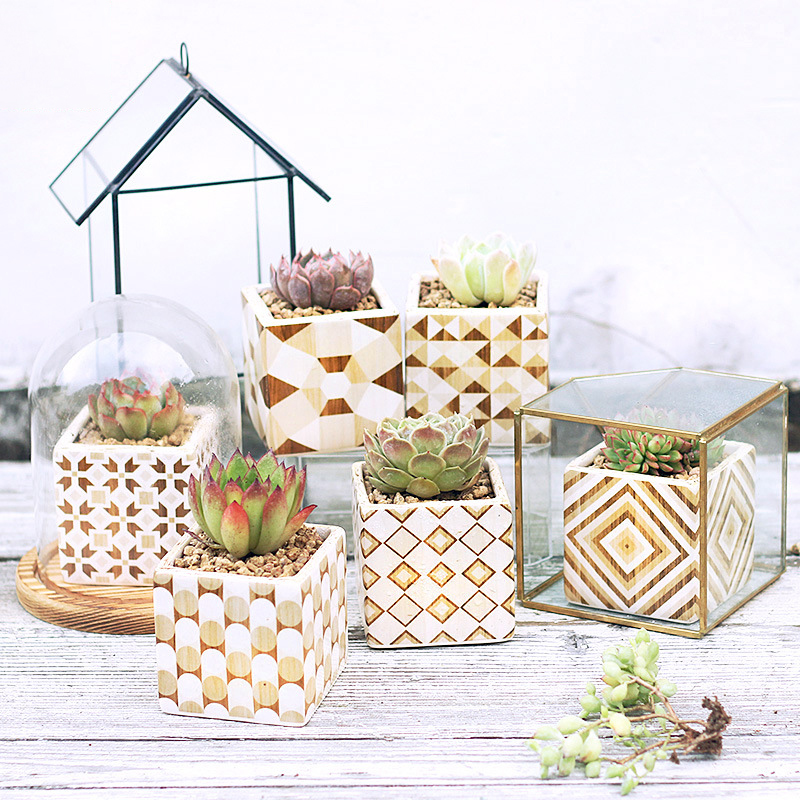 Lot de 6 pots de fleurs dorés Design Grain de bois en céramique Succulent Pot de plantes en porcelaine bureau Cactus bonsaï jardinières-in Pots de fleurs et jardinières from Maison & Animalerie    2
