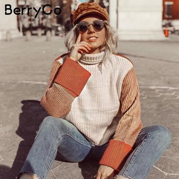 BerryGo Patchwork swetry z golfem damskie Casual z długim rękawem koreański sweter damskie swetry damskie streetwear damskie swetry tanie i dobre opinie 100rylic Akrylowe STANDARD Mieszkanie dzianiny Pełna Brak REGULAR Pani urząd NONE S19ST0612