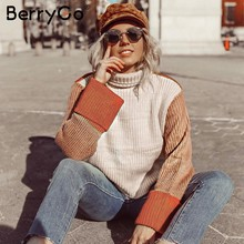 BerryGo Patchwork turtleneck sweaters women Casual long sleeve korean pullover female jumpers Women streetwear ladies sweaters(China)