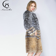 2019 Sandbar Fur Wholesale Genuine Leather Real Fox Sliver Women Coats Female natural color