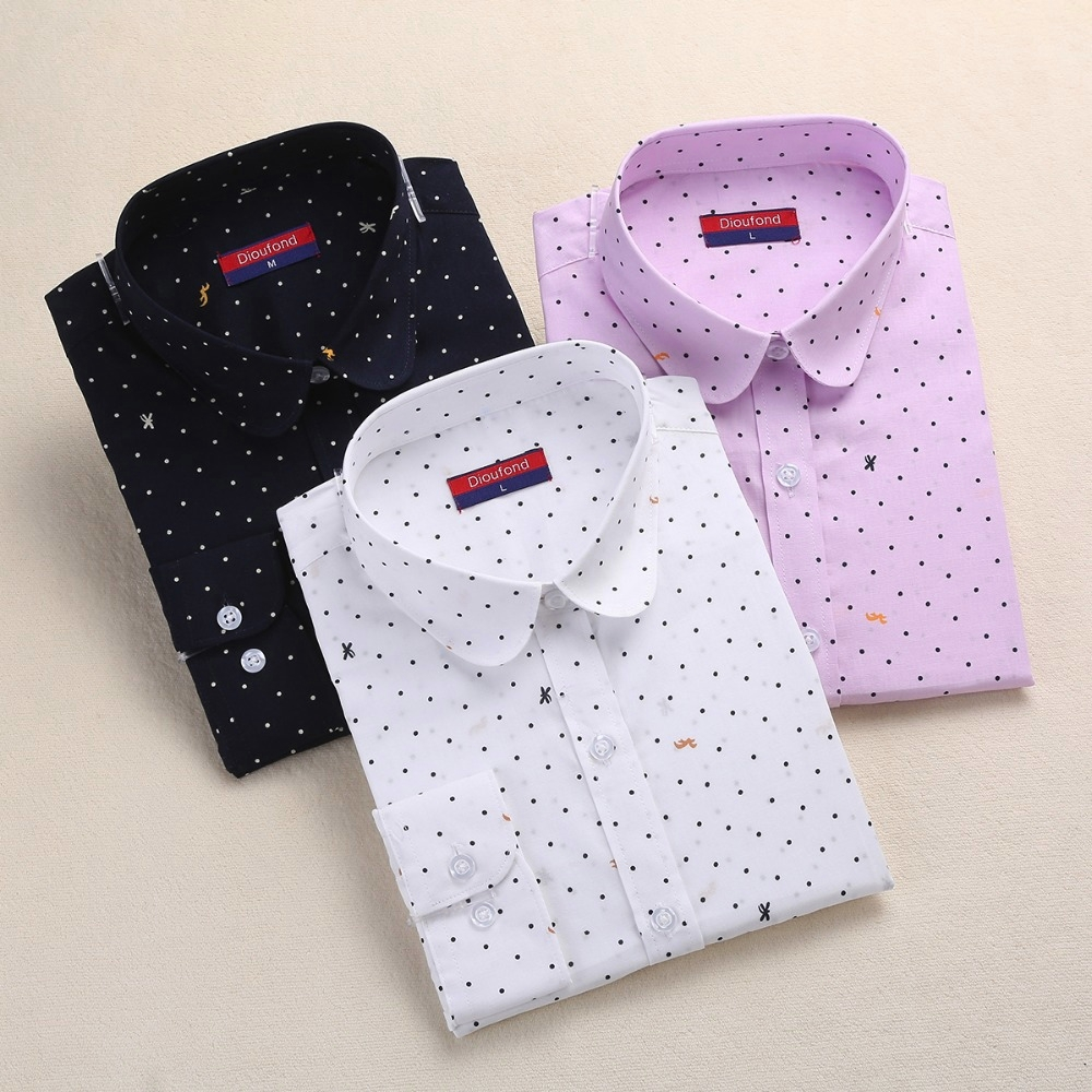 Dioufond Wanita Polka Dot Blouse Cotton Long Sleeve Shirt Turn Down Collar Shirt Ladies Tops Plus Size Women Clothing Fashion