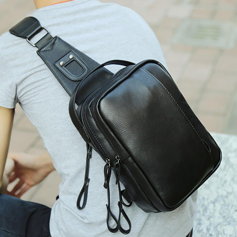 Hot Sale Men PU Leather Shoulder Cross Body Bag Rucksack High Quality Messenger Bags Fashion Casual Male Single Chest Back Pack