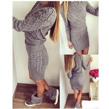 Фотография Winter Dress Sweater Beige Gray New 2017 Fashion Women Clothes Ladies Long Sleeve Knitted Bodycon Stretch Brief Casual Dress