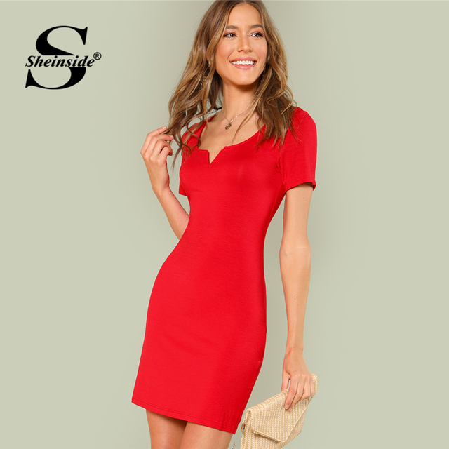 b9653f6d99cdc Sheinside Red Short Sleeve Weekend Casual Dress Office Ladies Round ...