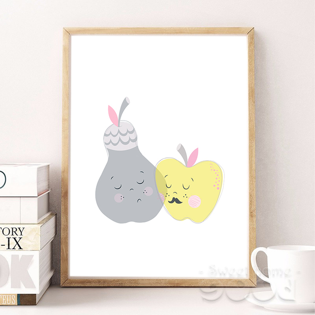 cartoon apple and pear canvas art print painting poster wall