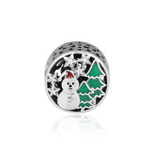 CKK 925 Sterling Silver Snowman Christmas Beads Suitable For Original Pandora Bracelet DIY Production Jewelry Accessories