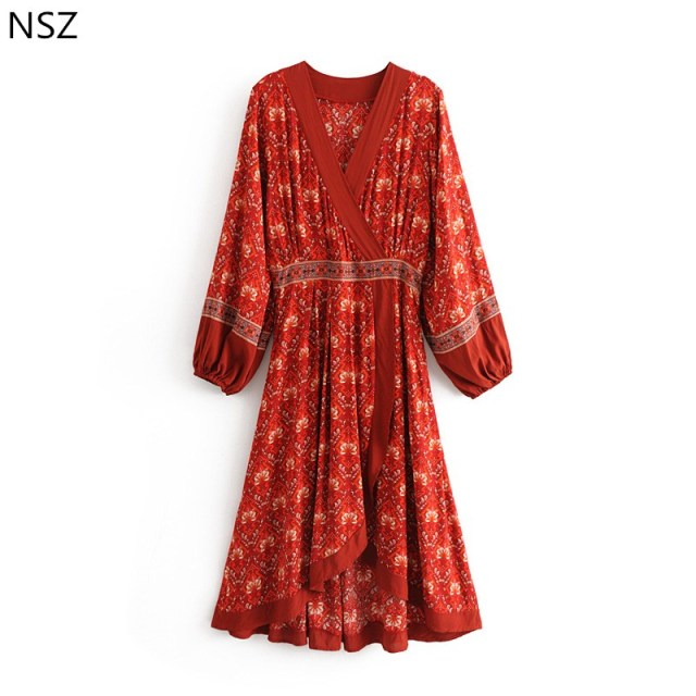 ed6c913a9cc5 NSZ Women Burgundy Boho Dress Print Maxi Loose Casual Open Split Summer  Dress Long Sleeve Asymmetry Bohemian Midi Dress Vestidos