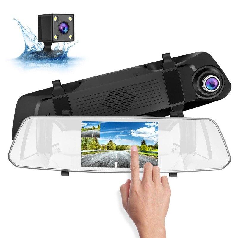 Nouveau 5 pouces voiture Dash Cam écran tactile voiture enregistreur lentille voiture rétroviseur DVR 1080 p/720 p 16 GB-128 GB