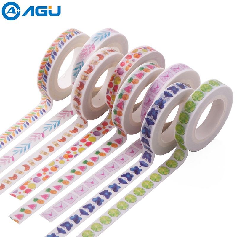 AAGU 1PC 8mm*10m Pineapple Watermelon Skinny Washi Tape Floral Masking Tape Various Patterns Fresh Design DIY Adhesive Tape aagu new arrival 1pc 15mm 10m musical note fresh floral washi tape strawberry sticky adhesive tape various patterns masking tape