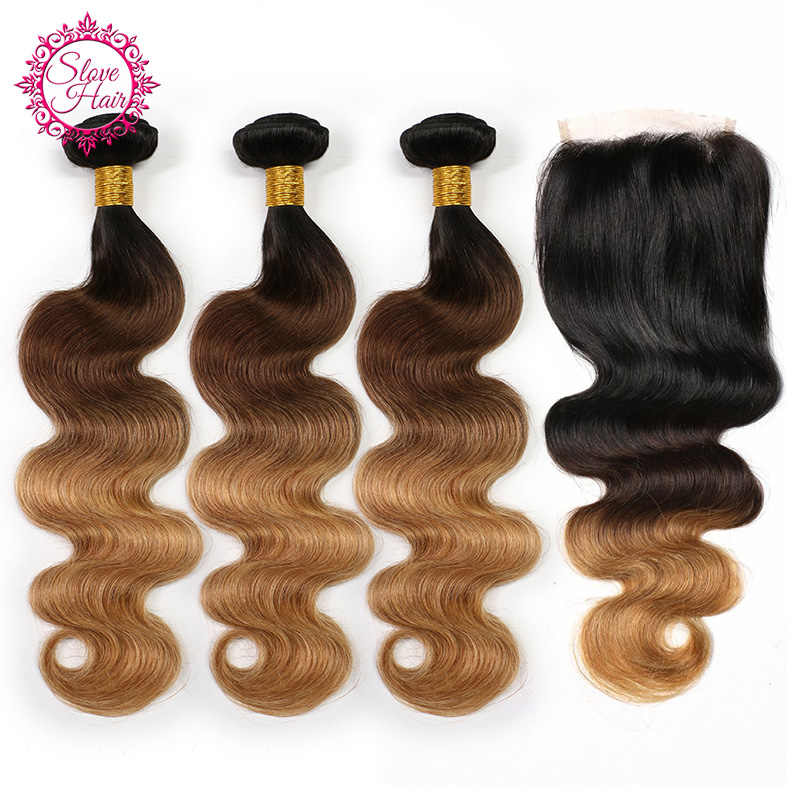 Ombre Bundles With Closure Buy Remy 1B/4/27 Body Wave Brazilian Weave Human Hair Extension With Dark Root Get Lace Closure Slove