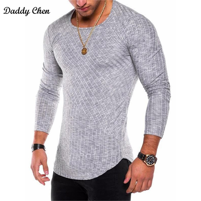 Men's t-shirts striped tee shirt homme summer Oversized Arc Hem long sleeve t shirt men hip hop tshirt streetwear slim fit xxxl