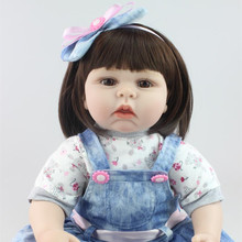 55cm Silicone Reborn Dolls Sleeping Baby Toy Soft Silicone Doll Girl Simulation Dolls Kids Birthday Gift Early Education Doll