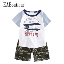 EABoutique 2017 New Summer kids clothes Cool fashion letter printed camouflage shorts boys clothes sets for 3-9 years old