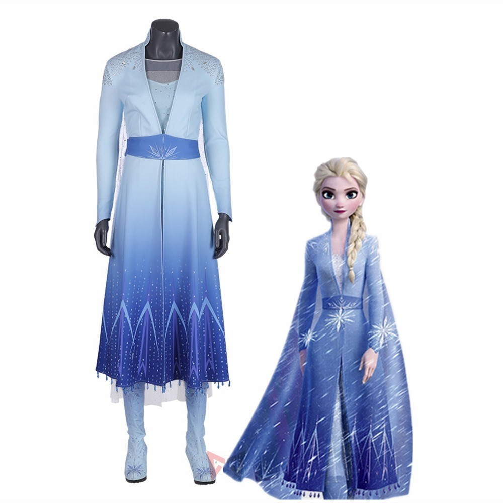 New Elsa Cosplay Costume Carnival Halloween Queen Blue Dress For Adult Fancy Super Hero Anime Clothing Custom Made