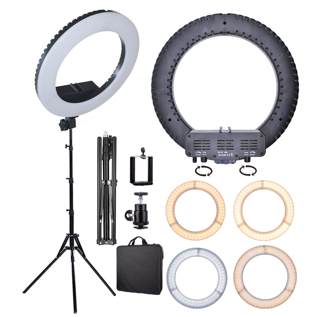 Dimmable 14in LED Ring Light Bi-color 3200K-5500K Ring Lamp for photography lighting Makeup YouTube Cameras Photo Accessories