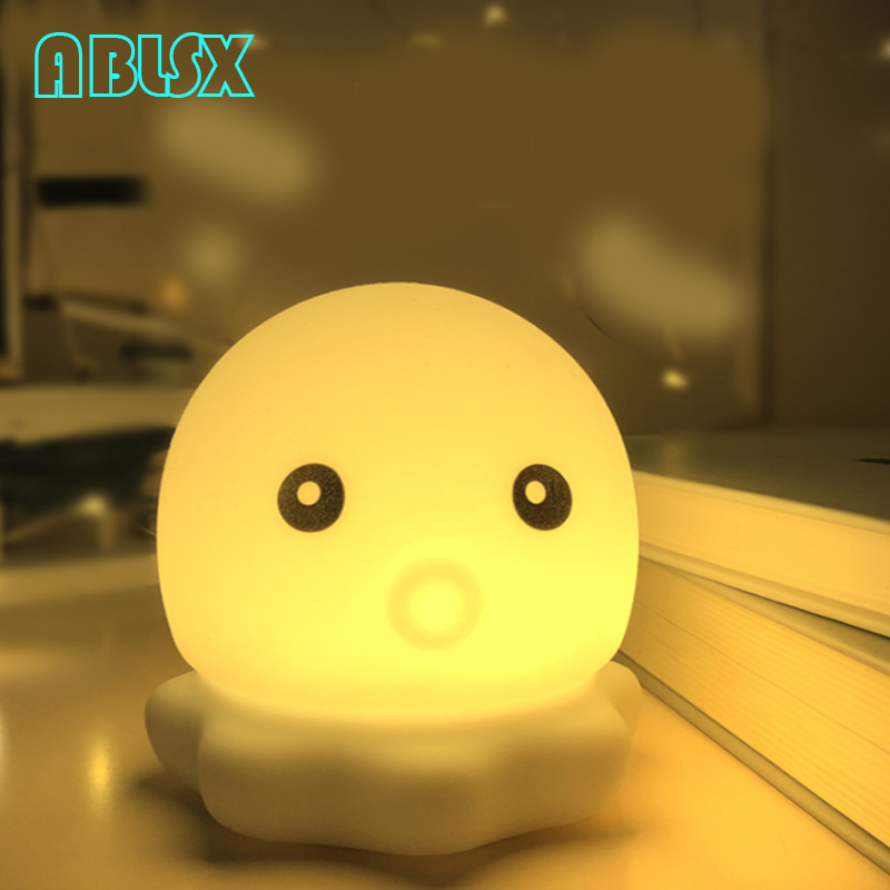 Animal Night Light For Children Led Night Light For Bedroom 7 Color Changed Octopus Lamp Christmas Xmas Touch Control Nightlight in Night Lights from Lights Lighting