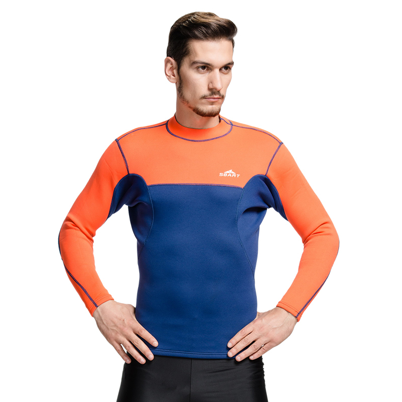 Sbart Men Long Sleeve 2mm Neoprene Diving Suit Anti Jellyfish KeepWarm anti-UV anti-friction Snorkeling suit tops