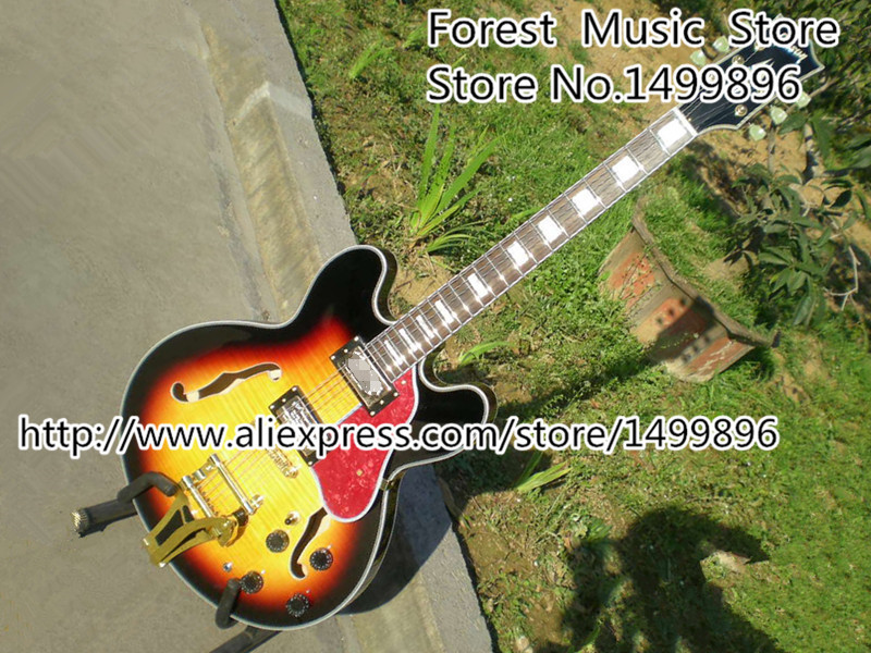 Vintage Sunburst ES Custom Guitar Electric Tiger Flame Hollow Body Guitar with Bigsby China Muisical Instrument high quality hollow maple body nashville electric guitar with gold bigsby free shipping