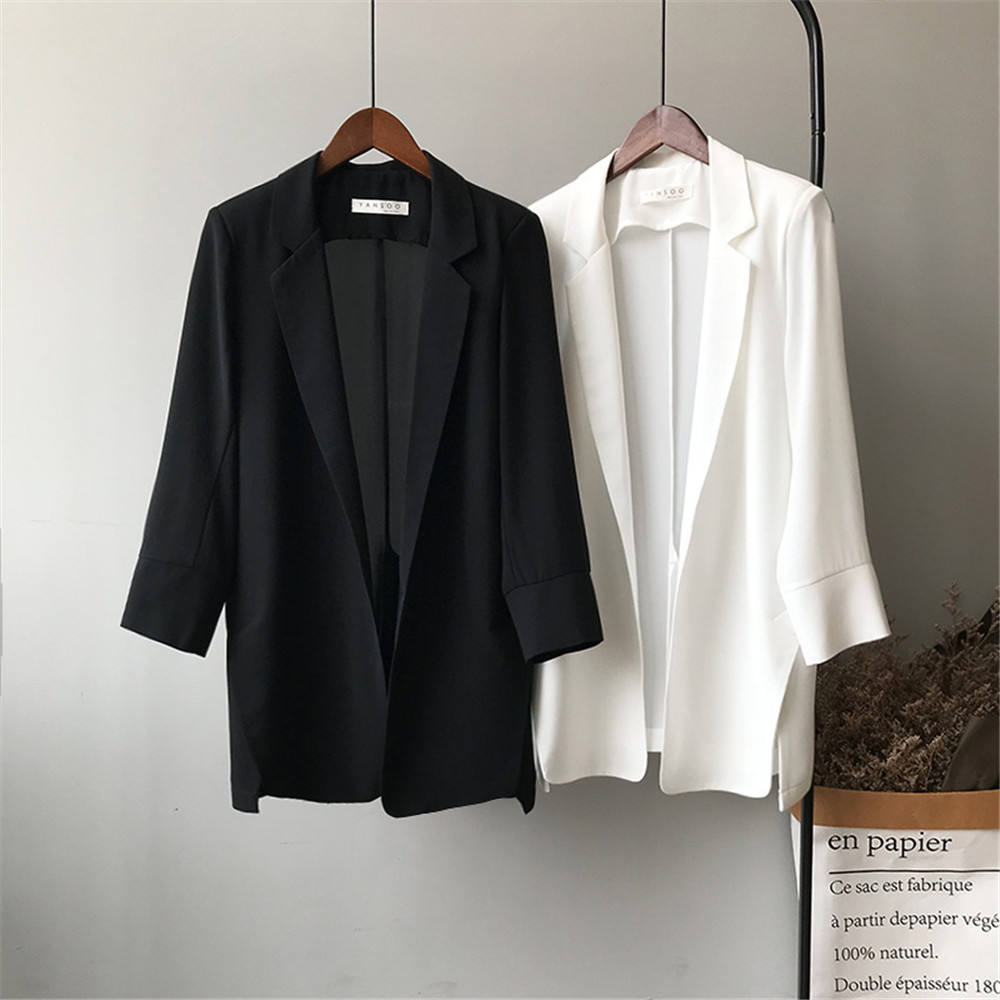 Summer Women Office Thin Suit 2019 Small Long Sleeve Chiffon Suit Jacket Women`s Autumn Work Blazer Suit All Match Suit Y0506 (2)