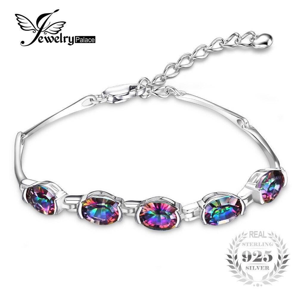 JewelryPalace lujo moda 6ct cóncavo Oval místico genuino Rainbow Topaz joyería de plata 925 pulseras para las mujeres regalos