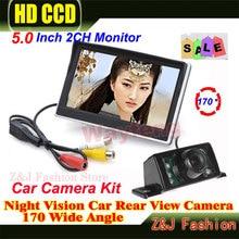 5 дюймов TFT ЖК-экран HD панели автомобиля цвета камера заднего вида с монитор + 7 ИК Огни ночного видения задним ходом резервного копирования автомобильная камера