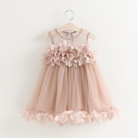 Free Shipping Hot Sale Clothes Child Clothing Casual Baby Girl Clothing Petal Beach Voile Lace Dress
