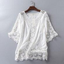 Кружевная блузка белая рубашка с вышивкой пляжное кимоно корейские женские топы и блузки вязанный крючком Топ Blusas Mujer De Moda туника
