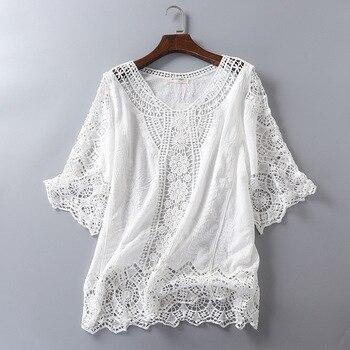 Blusa De encaje blanco 2019 camisa bordado Kimono coreano tops y Blusas para Mujer Top, Blusas De Mujer De Moda 2019 túnica