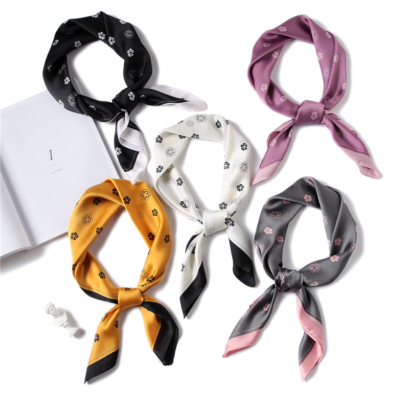 New Square Scarf For Women Luxury Brand Floral Print Small Neck Scarves Silk Feeling Foulard  Bandana Elegant Lady Office Scarf