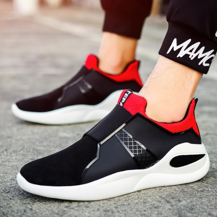 vermelho Preto E Dos Personalidade Inverno Outono Homens Couro Britânico Estilo Único Sapatos De cinza Casuais 7Z1dx6