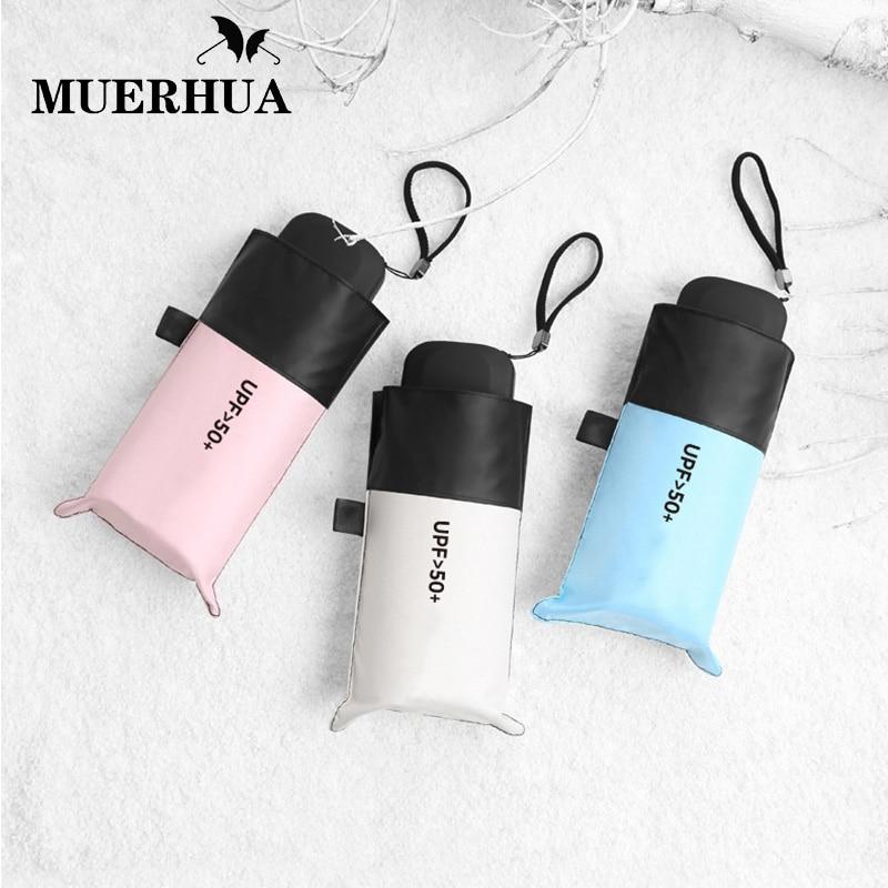 MUERHUA Anti-UV Pocket Mini Umbrella Rain Women Windproof Durable 5 Folding Sun Umbrellas Portable Sunscreen Female Parasol