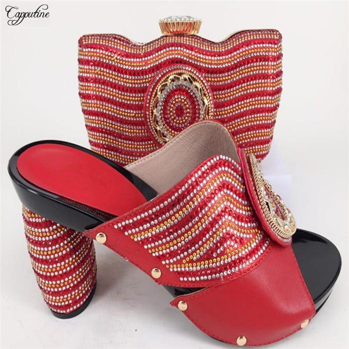 Популярные красные сандалии высокая обувь на каблуке с сумочкой в африканском стиле туфли-лодочки и сумка 226-7 Высота каблук 11 см