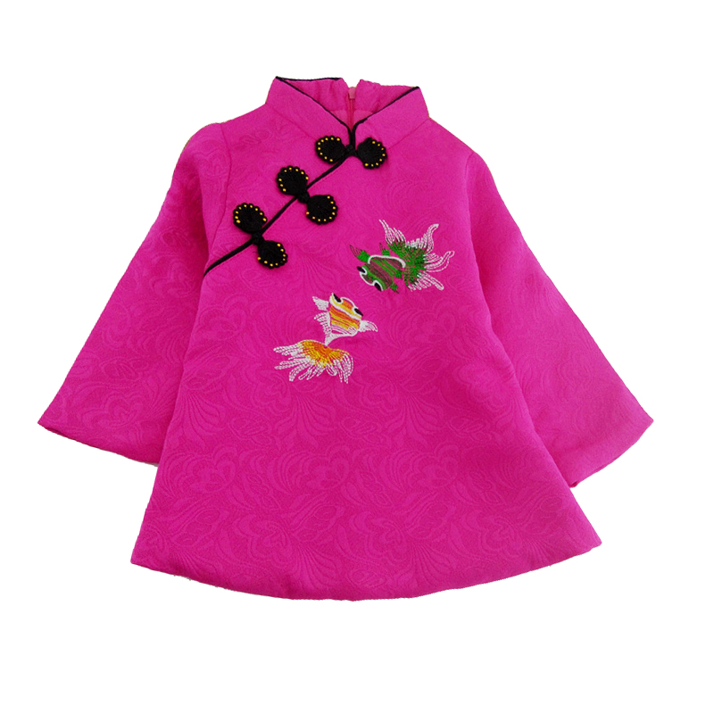 Chinese Style Traditional Girls Winter Dress Child Tang Suit Embroidery Cheongsam Dresses Robe Baby Qipao For New Year Dresses chinese style traditional girls winter dress child tang suit embroidery cheongsam dresses robe baby qipao for new year dresses