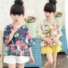 Kids Girls 2016 Korean version of the bat sleeve cotton short-sleeved flounced Princess