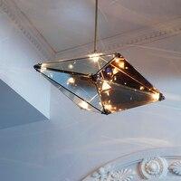 Nordic Brief Restaurant Goldern Iron Diamond G4 LED Bulb Chandeliers Post Modern Home Deco Dinning Room