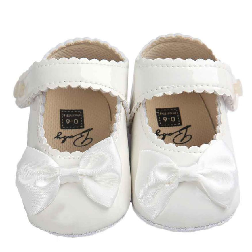 Princess First Walker Baby Girl Bowknot PU Leater Hook Loop Anti-slip Soft Sole Shoes Ch ...