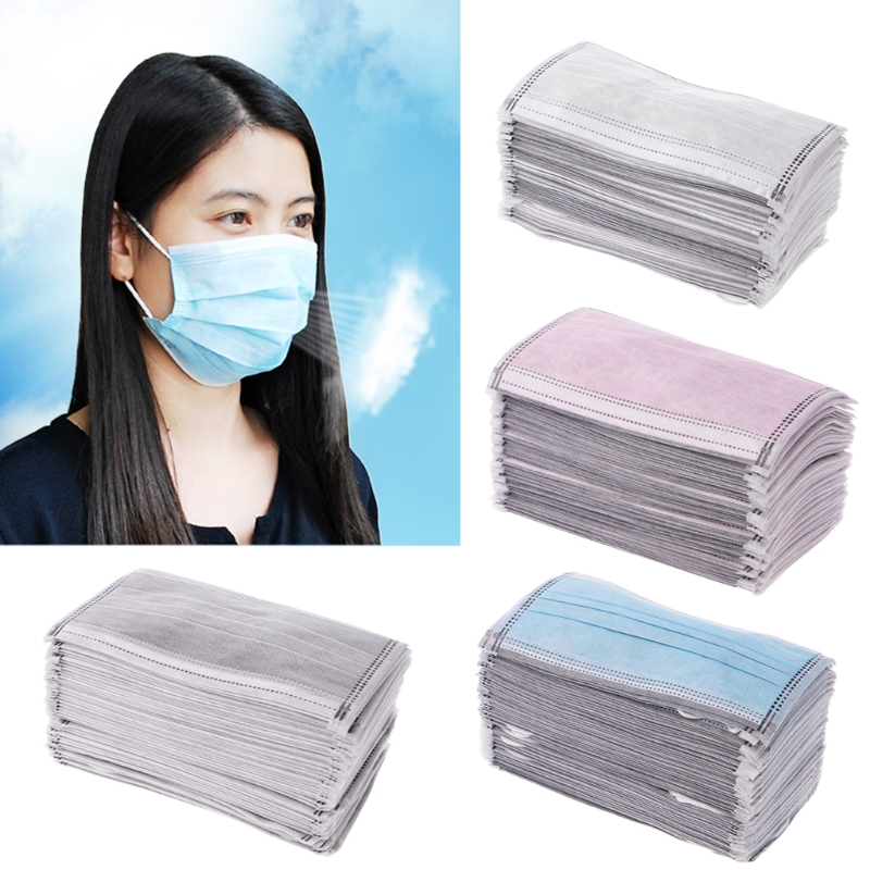 Free Shipping 50 Pcs Disposable Surgical Dust Face Mouth Masks 4 Layers With Activated Carbon