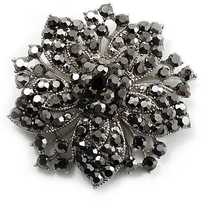 2,2 дюймов винтажная Серебряная черная Хрустальная Морская звезда, брошь для вечеринки, выпускного, ювелирные изделия, подарки - Окраска металла: 5