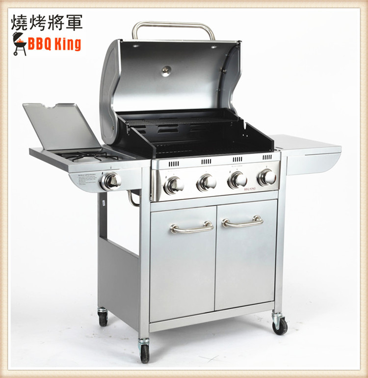 Exported to Britain super quality lava rock stainless steel gas BBQ grill machine portable mobile outdoor bbq machine with wheel