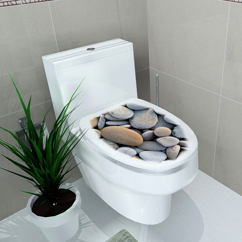 32x39cm 4 Color Toilet Cover Wall Stickers 3D Waterproof Bathroom Decal Pvc Stereo Toilet Stickers
