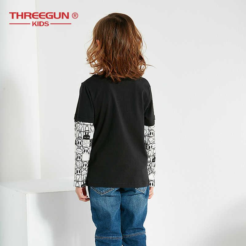 THREEGUN Camisetas Para Meninos Dos Desenhos Animados Tuzki Coelho Pato T Shirt Crianças Filhos de Algodão Do Bebê Menino Encabeça Adolescente Roupas 12 14 anos