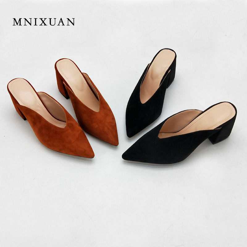 MNIXUAN women shoes pumps fashion mules 2018 summer genuine leather sexy pointed toe block high heels