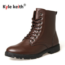 Kyle Keith 2017 High Top dr martins Men Winter Boot Shoes Black Mens Fur Plush Boots Cheap Snow Martin Ankle Shoes Black Brown